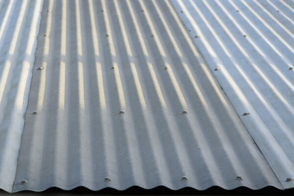 A corrugated metal roof