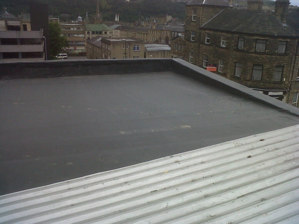 A rubber roof used on a commercial property